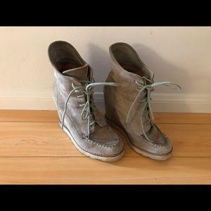 Selling my gray matiko wedge booties.